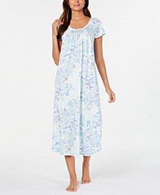 Women's Knit Floral-Print Smocked Nightgown