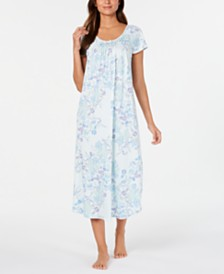 Miss Elaine Women's Knit Floral-Print Smocked Nightgown