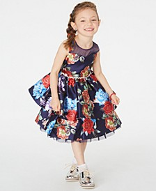 Little Girls Floral-Print Illusion Dress