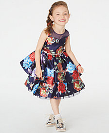 Rare Editions Little Girls Floral-Print Illusion Dress