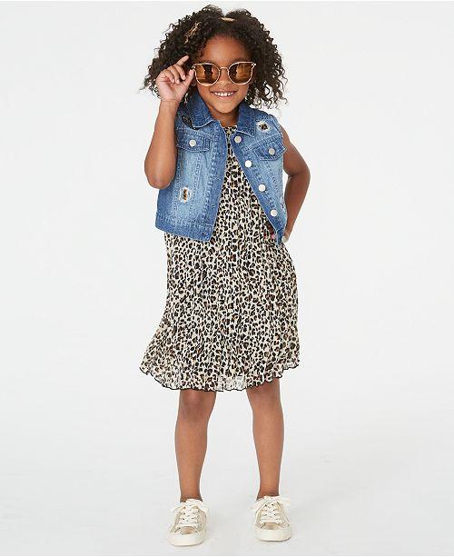 Rare Editions Little Girls 2-Pc. Leopard-Print Shift Dress & Denim Vest Set