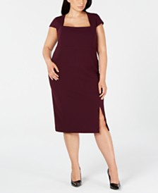 Calvin Klein Trendy Plus Size Cap-Sleeve Sheath Dress