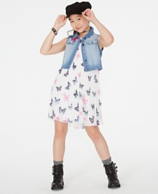 Rare Editions Big Girls 2-Pc. Butterfly-Print Shift Dress & Denim Vest Set