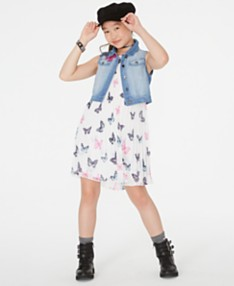 56441bc7a0c9 Rare Editions Big Girls 2-Pc. Butterfly-Print Shift Dress & Denim Vest