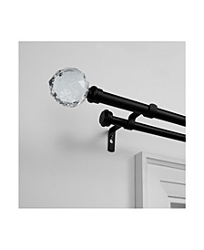 Crystal Ball Double Curtain Rod and Finial Set