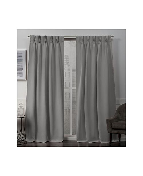 """Exclusive Home Sateen Twill Woven Blackout Pinch Pleat Window 30"""" X 108"""" Curtain Panel Pair"""