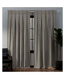 """Exclusive Home Ghent Metro Suede Inverted Pleat Button Top 32"""" X 84"""" Curtain Panel Pair"""