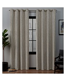 """Exclusive Home Forest Hill Woven Blackout Grommet Top Window 52"""" X 84"""" Curtain Panel Pair"""