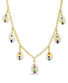Steve Madden Women's Multi Colored Seashell Charm Necklace