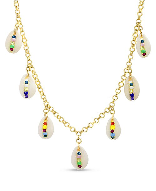 Steve Madden Women's Multi Colored Seashell Charm Necklace
