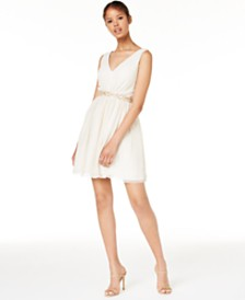 BCX Juniors' Beaded-Waist Pleated Dress, Created for Macy's