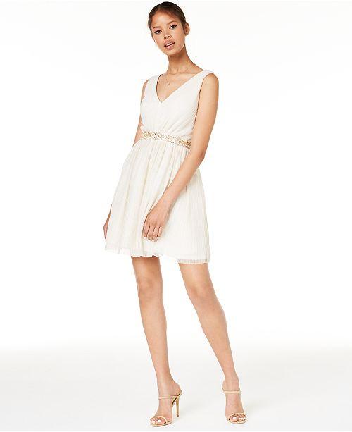 b99695743 BCX Juniors' Beaded-Waist Pleated Dress, Created for Macy's ...