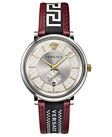 Men's Swiss V Circle Greca Edition Burgundy Leather Strap Watch 42mm