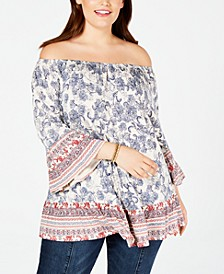 Plus Size Printed Off-The-Shoulder Top, Created for Macy's