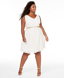 Trendy Plus Size Embellished Fit & Flare Dress, Created for Macy's