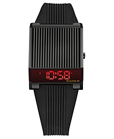 Men's Digital Archive Computron Black Silicone Strap Watch 31.1x40.3mm