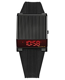 Bulova Men's Digital Archive Computron Black Silicone Strap Watch 31.1x40.3mm