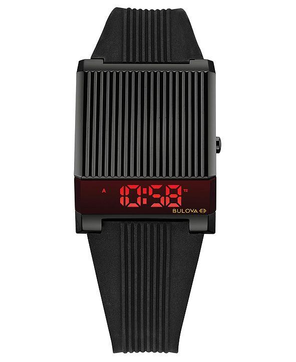 Bulova Men's Digital Archive Computron Black Silicone Strap Watch 31.1x40.3mm