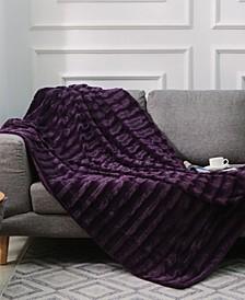 "Ultra Soft Faux Fur to Microplush 50"" x 60"" Reversible Cozy Warm Throw Blanket"