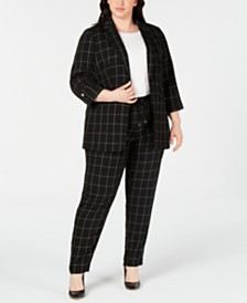 Calvin Klein Plus Size Windowpane-Print Roll-Tab Jacket, Lace Top & Windowpane-Print Pants