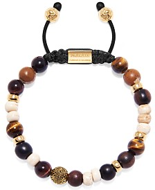 Nialaya Men's Beaded Bracelet with Brown Tiger Eye, Red Tiger Eye, Jasper, Ebony and Bone Beads