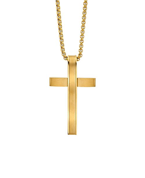 "He Rocks Modern Cross 24"" Pendant Necklace in Gold-Tone Stainless Steel"