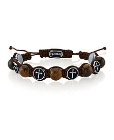 He Rocks Tiger Eye Stone and Stainless Steel Cross Bead Cord Bracelet
