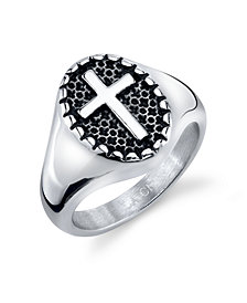 He Rocks Round Cross Ring in Stainless Steel