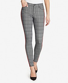 Skinny Hidden Message Plaid Jeans