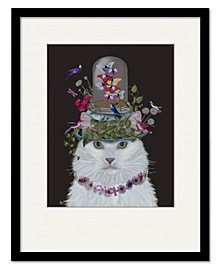 Cat Butterfly Bell Jar Framed and Matted Art Collection