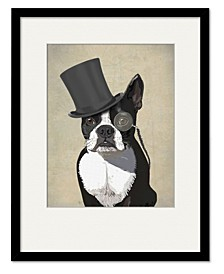 Boston Terrier, Formal Hound and Hat Framed and Matted Art Collection
