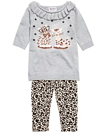 Baby Girls Cat Sweater & Leopard-Print Leggings Set