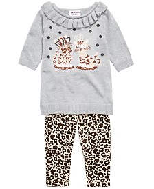 Blueberi Boulevard Baby Girls Cat Sweater & Leopard-Print Leggings Set