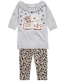 Blueberi Boulevard Baby Girls Cat Sweater & Leopard-Print Leggings Set