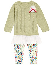 Baby Girls Flounce Sweater & Printed Leggings Set