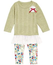 Baby Girls Flounce Sweater & Printed Leggings Set