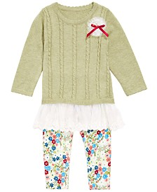 Bonnie Baby Baby Girls Flounce Sweater & Printed Leggings Set