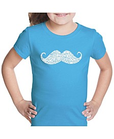 Girl's Word Art T-Shirt - Ways To Style A Moustache
