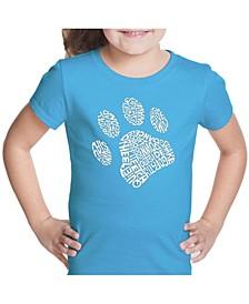 Girl's Word Art T-Shirt - Dog Paw