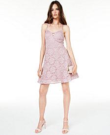 BCX Juniors' Glitter Lace Fit & Flare Dress