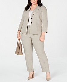 Plus Size Two-Button Melange Jacket & Melange Pants