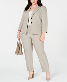 Kasper Plus Size Two-Button Melange Jacket & Melange Pants