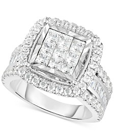 TruMiracle™ Diamond Halo Cluster Engagement Ring (2 ct. t.w.) in 10k White Gold
