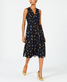 Floral-Print Pleated A-Line Dress