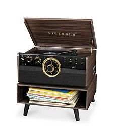 6-in-1 Wood Bluetooth Mid Century Record Player with 3-Speed Turntable, CD, Cassette Player and Radio with Storage Stand