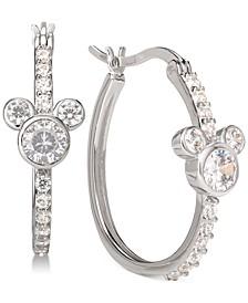 Cubic Zirconia Mickey Mouse Hoop Earrings in Sterling Silver