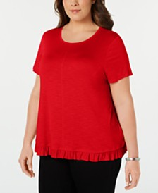 Style & Co Plus Size Ruffle-Hem Top, Created for Macy's