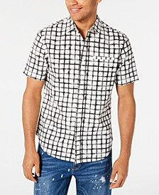 Men's Grid Print Short Sleeve Shirt