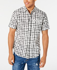 Sean John Men's Grid Print Short Sleeve Shirt