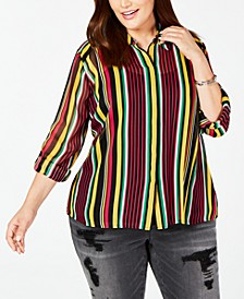 INC Plus Size Roll-Tab Button-Up Top, Created for Macy's
